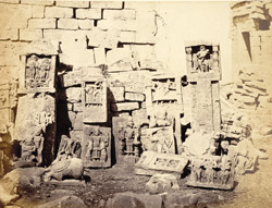 Group of paliyas (memorial stones) and other sculptured stones at the Suvan Kansari, Ghumli, Kathiawar
